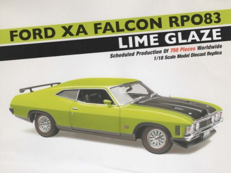 PREORDER 1:18 Classic Carlectables 1972 Ford XA Falcon RPO83 in Lime Glaze