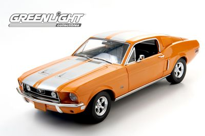 """1:18 Greenlight 1968 Ford Mustang """"Triple 9 Collection"""" Orange with Silver Stripes"""