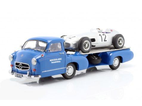 1:18 iScale 1955 Mercedes-Benz W196 #12 S. Moss British GP Winner + Mercedes Benz Car Transporter Blue Wonder