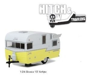 1:24 Greenlight Hitch & Tow - Shasta 15' Airflyte Trailer - in Yellow and White - Item # 18410S