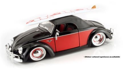 1:24 Jada - V Dub$ - 1949 Volkswagen Hebmuller Cabriolet - Black & Red - Item #53045HCBR