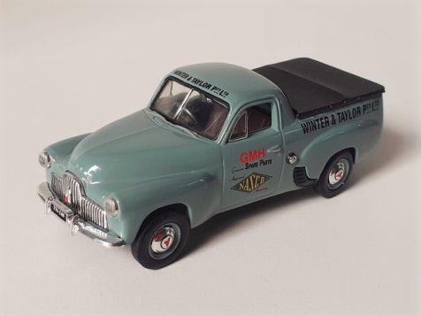 1:43 Classic Carlectables 1951 Holden FX Utility - 'Mortlake Blue' Holdens At Work Nasco Dealers