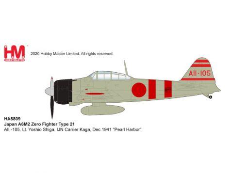 "PREORDER 1:48 Hobby Master Japan A6M2 Zero Fighter Type 21 IJN Carrier Kaga, Dec 1941 ""Pearl Harbor"""