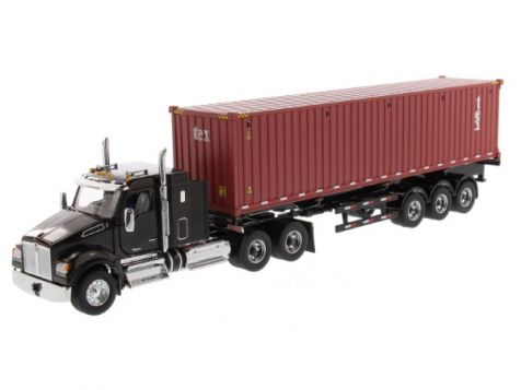 1:50 DM Kenworth T880 SFFA Metallic Black 40in-Sleeper Tandem Tractor & 40' Dry Goods Sea Container