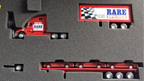 """1:64 COOEE Classics Aussie Road Rigs Freightliner Columbia Road Train - Falcon GT Transporter Set """"Rare Spares"""""""