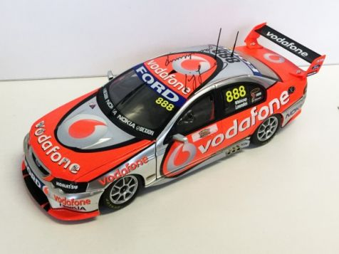 """1:18 Classic Carlectables Craig Lowndes and Jamie Whincup Year 2008 """"Supercheap Auto Bathurst 1000 Winner"""" TeamVodafone BF Falcon (Scale replica Peter Brock Trophy included)"""