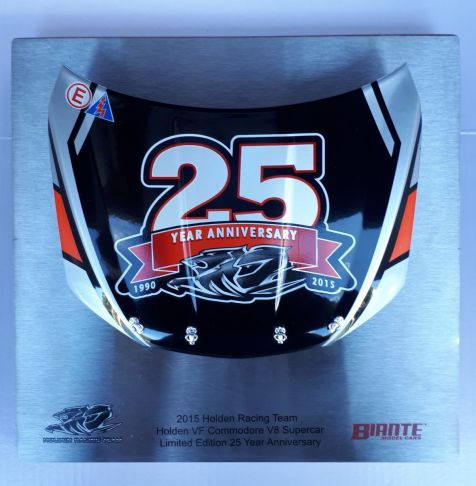 Signature Bonnet by Biante Model Cars.  1:10 scale of the special commemorative 25th Anniversary Holden Racing Team Bonnet comes in Black Red and silver colours.