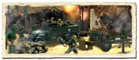 1:72 Forces of Valor (Battle Extreme) U.S. M3A1 Half-Track &105mm Howitzer Set - France 1944 diecast military model