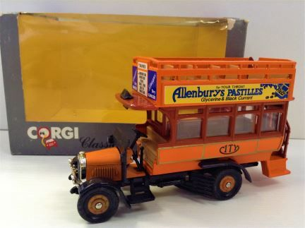 "Corgi Classics - Limited Edition Thornycroft Bus with ""Allenburys Pastilles"" ad - Item #975"