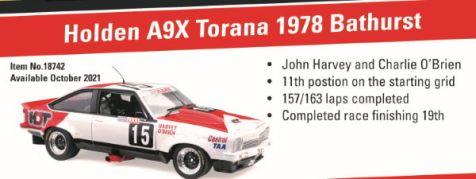 PREORDER 1:18 Classic Carlectables 1978 Holden A9X Torana Driven by Harvey/O'Brien - Marlborough stickered