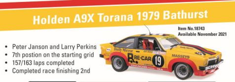 1:18 Classic Carlectables Holden A9X Torana as Driven by Peter Janson and Larry Perkins in the 1979 Bathurst