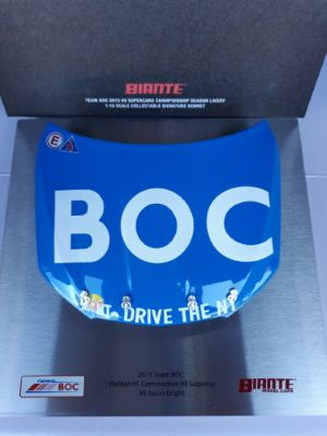 Signature Bonnet by Biante Model Cars.  1:10 scale model of the 2015 BOC Holden VE Commodore Bonnet. This model Bonnet's artwork is in the White on Blue – Dive the NT livery.