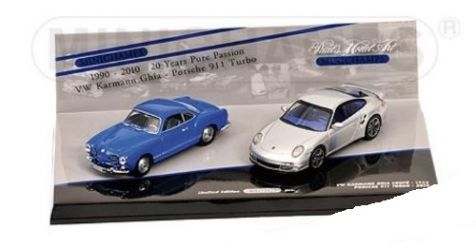 1:43 Minichamps VW Karmann Ghia Coupe 1955, Porsche 911 Turbo 2010 402 902010