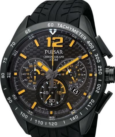 Pulsar Chronograph Watch PU2025X - Detailed Urethane Band - Black Face with Yellow Indicators