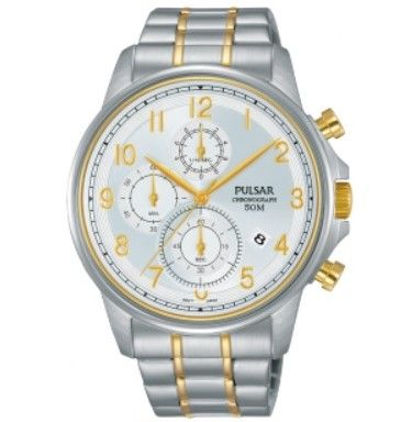 Pulsar Watch PM3069X - Chronograph - 50m W/R - Silver & Yellow Gold Strainless Steel Bracelet - Silver Face (Default)