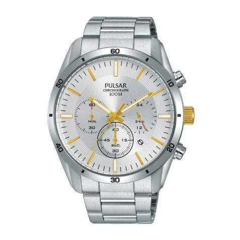 Pulsar Watch PT3841X - Chronograph - 100m W/R - Silver Stainless Steel Bracelet - Silver Face