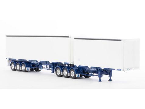 1:50 Drake Freighter Ezi-Liner B-Double in White/Blue